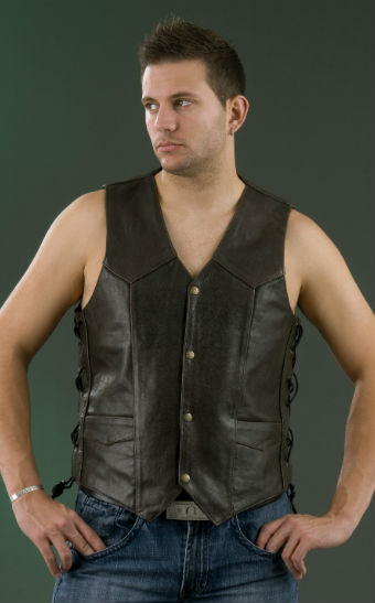 Men's Embossed Leather Vest ML 1346RT