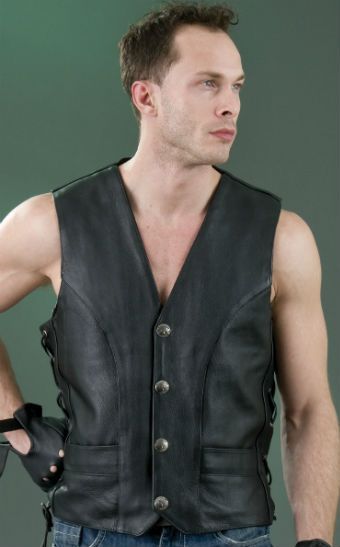 Men's Laces Leather Vest ML 1369NL 1255N