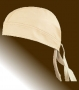 LEATHER BANDANA SKULL CAP, BEIGE