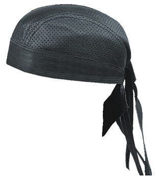 LEATHER BANDANA SKULL CAP, HALF PERFORATED