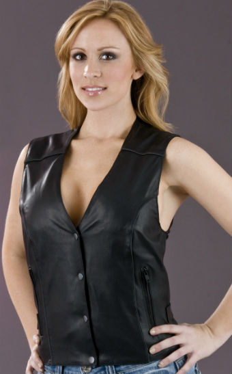 Ladies Side Buckles Leather Vests