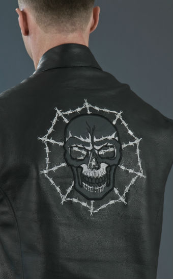 Men's Skull Leather Vest ML 1953C, Back